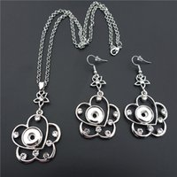 WhitePink Mix Новые девушки Rhinestone Heart Flower Noosa Chunks Metal Ginger 12mm Snap Buttons Necklace Earrings Jewelry Set Wholesale