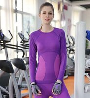 Wholesale Outdoor Yoga Clothing - Outdoor Quick-drying T Shirt Women Sport Run Yoga Tops Fitness Clothes Long sleeves