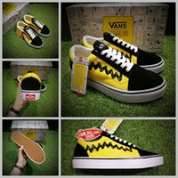 Wholesale Comic Shoes - 2017 vans x peanuts Skate Canvas Shoes Women Mens Snoopy Comic Black Yellow Old Good Grief Skool Casual Sport Sneakers 35-44