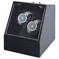 Wholesale auto plugs - Wholesale-Carbon Fiber Auto Silent Watch Winder Irregular Shape Transparent Cover Wristwatch Box with EU Plug