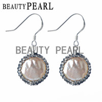 Wholesale Hook Freshwater Pearl Earring - Sterling 925 Silver Hook Clear Rhinestones Pave White Freshwater Coin Pearl Earrings Women Pearl Silver Jewelry