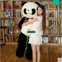Wholesale christmas stuffed panda bear - Dorimytrader Hot Pop 140cm Huge Soft Animal Panda Plush Toy 55'' Large Stuffed Cartoon Pandas Doll Pillow Hug Bear Present DY60021