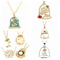 Wholesale Wholesale Jewelry Ships Fast - Fashion Jewelry Gold Charm Beauty And The Beast Necklace Rose Pendant Necklace kids Women Gifts free fast shipping