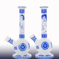 Wholesale Porcelain Pipes - 2017 New designed China blue and white porcelain style mini glass bong glass oil rig water pipe