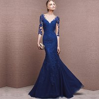 Wholesale Free Images Woman - Real pictures High quality royal blue mermiad evening dresses 2017 floor-length half sleeve formal evening gowns for women free shipping