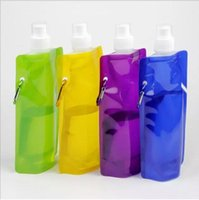 Wholesale Foldable Travel Bags - 480ml foldable sports water Bag bottle Portable Drink bags Durable BPA-Free Outdoor Travel kettle Free Shipping