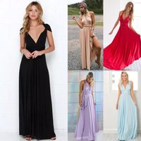 Wholesale Convertible Maxi Wrap Dress - Women Sexy Convertible Multi Way Wrap Maxi Dress Backless Beach Sundress Bridesmaid Party Dresses Bandage Bodycon Long Prom Gown