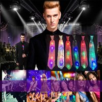 New Fashion Light Up LED Luminous Sequin Neck Ties Gravata de cores intercambiáveis ​​Tie Led Tie piscando para mulheres homem IC913