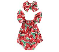 Wholesale Cute Jumpsuits - Summer INS Cute Infant Watermelon Rompers Headband Newborn Baby Girls Sleeveless Backless Halter Romper Jumpsuit Cotton Sunsuit Outfit 0-24M