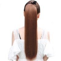 Wholesale Clip Long Straight Ponytail - Z&F 40CM Long Straight Ponytails Clip In Ponytail Drawstring Synthetic Pony Tail Heat Resistant Fake Hair Extensions