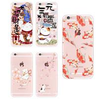 casos da flor de cerejeira do iphone venda por atacado-Para iphone 6s xs max 7 plus 7 se 8 8 plus x samsung galaxy s8 koi peixe cherry blossom sorte gato japonês padrão suave phone case