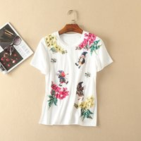 Wholesale Santa Bead Cap - The new Europe and the United States women's clothing in the summer of 2017 Santa Claus T-shirt applique beading