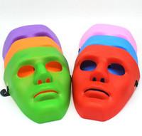 Wholesale Plain White Masquerade Masks - Halloween face mask white jabbawockeez mask hiphop jabbawockeez mask white hip hop plain masquerade masks white black blue green