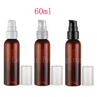 Wholesale Empty Bottles 2oz - wholesale 60ml X 50 brown empty cream pump cosmetic bottles containers, 2oz travel size skin care cream container with pump