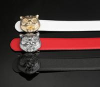 Wholesale Golden Pants - Men belt real leather belts Casual pants belt tiger Pure color cross pattern belt buckle Free shipping