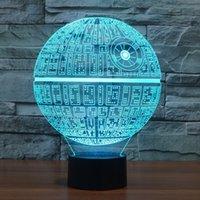 Wholesale Led Novelty Lights Star - 3D Novelty Light Star Wars Death Star 7 Colors Changing LED Lamp NEW Luminaria 3D Lights Action Figure Kids Gift Toys