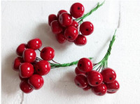 Wholesale fruit wreaths resale online - Display Flower Christmas decorations mm Head Xmas Pearl Red Pomegranate Fruit For Christmas Flower Wreath And Garland set