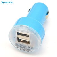 Atacado- Novo Portátil Carregador Mini Car Adaptador USB Duplo 2-Port para iPhone 4/5 / 5C / 5S / 6 Samsung HTC iPod iPad LED Azul