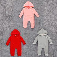 Wholesale French Terry Romper - New 2017 Baby Romper For Baby Girls   Boys Winter Baby Rompers Boys Clothes Cotton Infant Hooded Jumpsuit Climbing Kids Clothes 0-24M