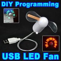 mesaj fanları toptan satış-Mini Gadget USB LED işık Fan Esnek Programlanabilir LED Soğutma Fanı DIY Programlama Herhangi Karakterler Mesajlar Dizüstü için Kelimeler