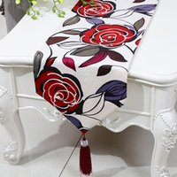 Wholesale Table Runner European Size - Multi size Rectangle Rose Flower Table Runner European American style Tea Table Cloth High End Silk Brocade Dining Table Protective Pads