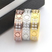 Wholesale Finger Screw - Fashion Brand 316L Stainless Steel Screw Love Rings Women Finger Gold Plated Men Ring Style Double Lines Crystal Lovers Jewelry