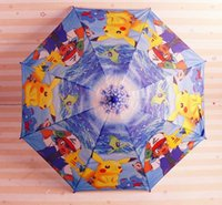 Wholesale 2017 hot poke Children cartoon Umbrella Pikachu Rain Gear Children s Rain cartoon long umbrella