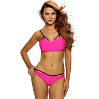 Wholesale Neon Tights - Swimwear Summer Beach Resort neon rose tight split swimsuit holder with pad strip