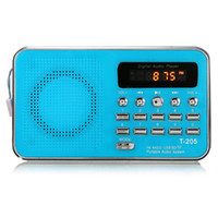 Vente en gros-Nouvelle T205 LCD Display Digital FM Radio Mini Music Player MP3 WMA MMC Support TF Carte Port USB Aux Player Audio 4 couleurs