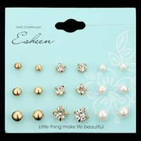 9 paires / Set Punk Crystal Round Stud Earrings pour les femmes Men Vintage Boho Style Simulated Pearl Clip Boucles d'oreille Opal Boucles d'oreilles Ensemble de cartes combinées