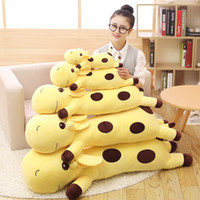 Wholesale Cartoon Stuffed Animals Cheap - Cheap Trendy Cartoon Giraffe Pillow Baby Doll Kids Adult Soft Stuffed Plush Animals Toys Lumbar Sleep Pillow Birthday Gift Free Shipping