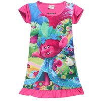 Wholesale cute pajamas dress - High Quality 2017 Summer Baby Girls Dress Kids Cute Cartoon Trolls Dress Princess Dresses Pajamas Home Dress for girls 3-10Y