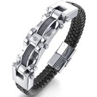 Wholesale Mens Heavy Stainless Steel Chain - New Fashion Mens Braided Black Leather Stainless Steel Bracelet Heavy Biker Wire Cuff Bracelets & Bangles JBN0050