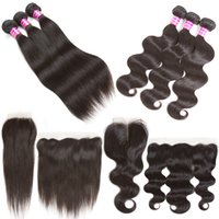 Wholesale Lace Part Closure Piece - Straight Human Hair Weft Bundles With Lace Frontal 13x4 Ear To Ear Or 4x4 Lace Closure Free Middle Part