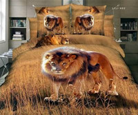 Wholesale Sheets Set For Cheap - Bed Sheet Hot Sale 100% Cotton 2016 New Arrival Cheap 3d Reactive Animals Lying for Lion Printed 4 Pieces Duvet Cover Sets Bedding