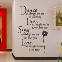 Wholesale Dance Wall Quotes - Wholesale- Home Decoration Dance Love Sing Live Wall Sticker Quotes Decals Removable Stickers Vinyl Art Stickers