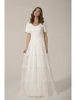 outdoor vintage lace wedding dresses 2021 - Lace Modest Wedding Dresses With Short Sleeves Scoop Neck Buttons Back Boho Women Wedding Gowns Outdoor bridal Gowns Custom Made