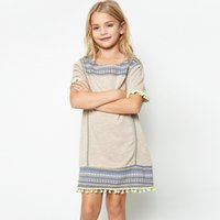 Wholesale New Retro Style Wholesale Clothing - Summer New Big Girls Dresses Short Sleeve Retro Style Children Clothing Dress Chestnut Denim Blue Girl Casual Dress Tassel A6009