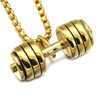 Wholesale Titanium Figaro Necklace Men - New Arrivel Gold Black Color Titanium Stainless Steel GO FIT Dumbbell Gym Fitness Barbell Pendant Necklaces For Men Sport Jewelry