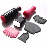 Wholesale xl stamper - Wholesale- XL Large Small Scraper Nail Art Stamping Plate & Double Ended Stamper Image Tool