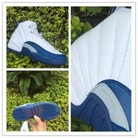 Wholesale French Fabric Designs - brand Air 12 Retro French Blue Size 13 white for men and women XII 12s sneakers wholesale free shipping fashion design