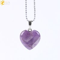 Wholesale Agate Gemstone Necklace - CSJA 2017 New Women Summer Jewelry Pendant Necklace Lovely Heart 8 Natural Gemstone Amethyst Rose Quartz Clear Crystal Black Agate E594 B
