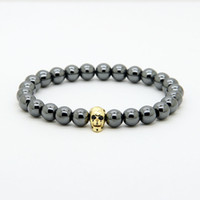Wholesale Skeleton Skull Beads - 1PCS Powerful Fashion Jewelry 8mm Black Hematite Beads With Micro Pave Cz Faceted Skeleton Skull Bracelets