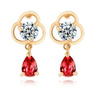 Wholesale Swa Stud - Fashion New Prom Party Earrings Red White Green Austrian Crystal SWA Element Waterdrop Flower Earring Studs Fashion Jewelry