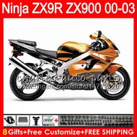 8Gifts 23Colors para KAWASAKI NINJA ZX 9 R ZX9R 00 01 02 03 900CC 40NO32 Golden preto ZX 9R ZX900 ZX900C ZX-9R 2000 2001 2002 2003 Carenagem