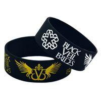 музыка черных ангелов оптовых-Оптовый 50PCS / Lot 1 дюйм широкий черный вуаль невесты с ангелом крылья силиконовый браслет браслет для музыкальных поклонников
