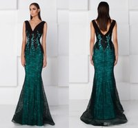 Wholesale Womens Ruffled Jacket - Hunter Green Black Lace Mermaid Formal Prom Dresses 2017 V-neck Full Length Middle East Arabic Fashion Womens' Occasion Evening Party Gowns