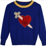 Wholesale stitch embroidery bead for sale - Group buy 2017 Brand Same Style Sweater Blue Black Fegular Long Sleeve Crew Neck Beads Embroidery Letter Fashion Women Clothes SH