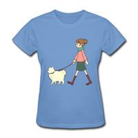 Wholesale Women Blouse Cartoon - Woman walking a dog fashion cartoon T-shirt wholesale women's short T-shirt 100% cotton small round collar blouse black white 2XL