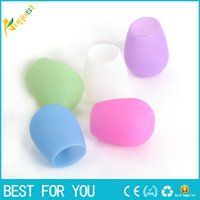 Wholesale Silicone Wine Glasses Unbreakable Premium Food Grade Stemless Drinking Cups Dishwasher Cafe Recyclable Rubber Wine Glasses Drinkware F220